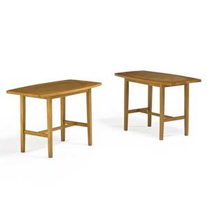 Paul mccobb winchendon furniture co pair of planner group side tables winchendon ma 1950s birch leather manufacturers metal labels 20 x 30 x 18