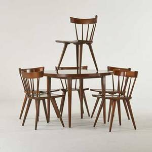 Paul mccobb winchedon furniture co planner group dining set with table and six side chairs winchendon ma 1950s stained and lacquered wood two chairs with foil labels chairs 31 x 19 34 x