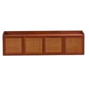 Edward wormley dunbar wallhanging cabinet berne in 1960s walnut wicker brass label 19 12 x 67 12 x 14