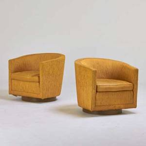 Edward wormley dunbar pair of lounge chairs berne in 1950s mahogany wool embroidered decking upholstery labels 27 x 30 x 30