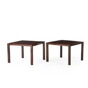 Edward wormley dunbar pair of side tables berne in 1960s mahogany with brass inlay both with metal tags each 21 x 30 sq