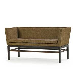 Edward wormley dunbar settee berne in 1960s mahogany rosewood wool brass label 27 12 x 52 12 x 21 12
