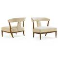 Tomlinson pair of sophisticate lounge chairs high point nc 1960s fruitwood wool unmarked 28 x 29 12 x 26 12