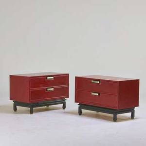American of martinsville pair of nightstands usa 1960s painted wood brushed metal branded 24 12 x 36 x 20