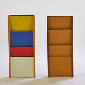 Peter pepper products inc pair of wallhanging letter trays gardena ca 1960s walnut birch painted masonite one foil label taller 34 x 14 x 3 14