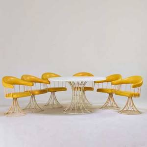 Garden furniture table and six armchairs usa 1970s enameled metal laminate vinyl unmarked dining table 28 x 48 dia chairs 30 12 24 x 20