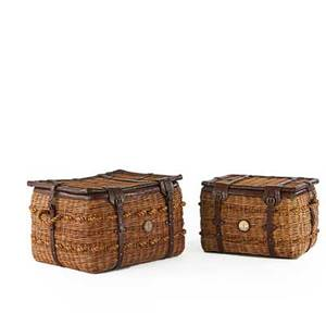 Stiles brothers bauer international gondola storage trunks usa 20th c two rattan embossed leather hemp both with metal labels larger 24 x 39 x 31