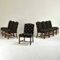 Edward ferrell ltd eight dining chairs usa 1990s stained lacquered wood upholstery labels each 37 x 24 x 29