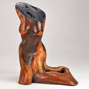 Anthropomorphic sculpture wood unsigned 38 18 x 28 x 17