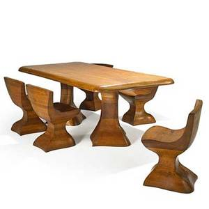 American studio dining table and five chairs usa 1980s laminated and carved oak unmarked chairs 28 12 x 22 12 x 18 table 31 x 43 12 x 83 12