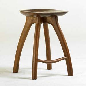 Studio sculpted walnut stool usa 1989 signed geredfield1989 23 x 16 12 x 17