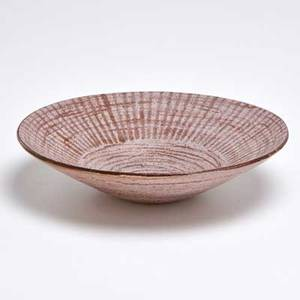 Laura andreson small earthenware bowl covered in pink glaze with brown lines and swirls usa 1950 incised signaturedate 2 12 x 8 12 dia