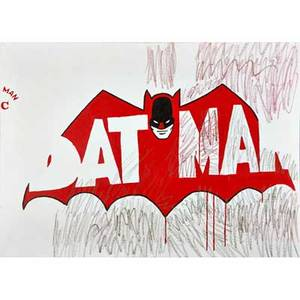 Pop art mixed media on canvas of batman together with eight unstretched acrylic on canvas largest 142 x 95