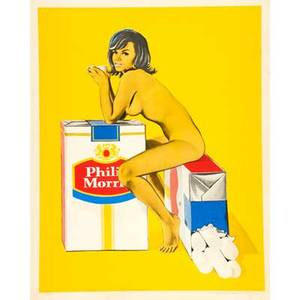 Mel ramos american b 1938 lithograph in colors philip morris 1965 signed dated and numbered proof 30 x 21 sheet