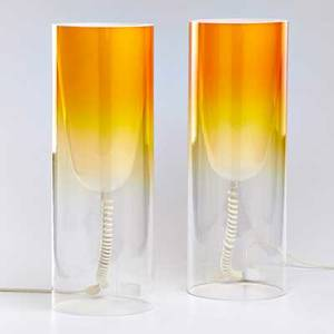 Ferruccio laviani kartell pair of toobe table lamps italy 2007 polycarbonate both with sticker labels each 22 x 8 dia