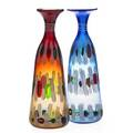 Anzolo fuga attr 19141988 possibly avem two glass vases red and blue with murrine and lattimo decoration murano italy second half 20th c unmarked 16 x 5 ea