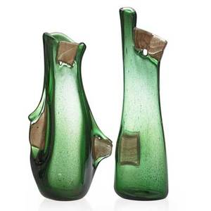 Anzolo fuga attr 19141988 possibly avem two pulegoso vases murano italy second half 20th c blown glass with applied aventurine piastre unmarked 13 12 15 12