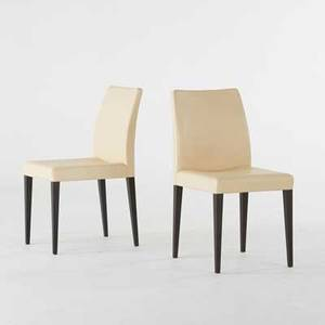Poltrona frau pair of liz side chairs italy 2008 stained wood and leather manufacturer labels 35 x 17 x 19 12