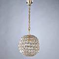 Gaetano sciolari spherical polished brass and crystal pendant light with glass ceiling cap 1960s unmarked to ceiling cap 24 12 x 8 14 dia