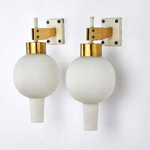 Arredoluce pair of polished brass and enameled metal sconces with frosted glass shades italy 1960s one with paper label 11 14 x 2 14 x 4 14