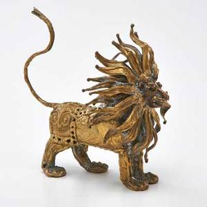 Pal kepenyes brass lion with fused glass eyes mexico 20th c signed 7 x 4 x 6 12