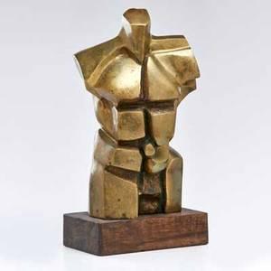 Bronze sculpture cubist torso of man on wenge base 20th c partially legible signature reads b idirissarepizaire23 24 x 12 34 x 7 34