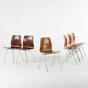 Royal six stacking chairs set of four and two similar 20th c ash chromed steel all marked each 32 x 16 18