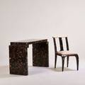 Enrique garcel console table and chair columbia 1980s lacquered horn bone and brass stenciled markings to table console 32 12 x 54 x 20 chair 35 x 18 12 x 24