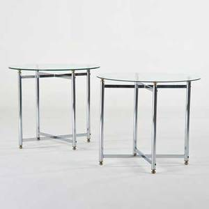 French pair of lamp tables ca 1970s glass chromed steel brass unmarked each 28 x 32 dia