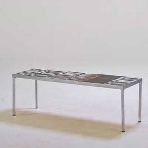 Roger capron coffee table france 1960s glazed earthenware chromed steel signed in glaze 16 x 48 x 16