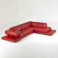 Roche bobois sectional sofa france 1990s leather ebonized wood embroidered decking 23 12 x 96 x 40 12