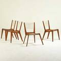 Jacques guillon four side chairs canada1950s walnut and string unmarked 33 x 24 x 22