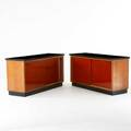 French pair of sliding door consoles 1970s leather tops white oak laminate each 31 x 59 x 20