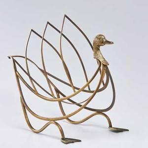 Maison jansen brass magazine rack in the form of a swan france second half 20th c unmarked 19 34 x 13 12 x 26 12