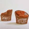 Franco albini attr pair of lounge chairs 1960s bamboo wicker splitreed upholstery unmarked 29 12 x 34 dia