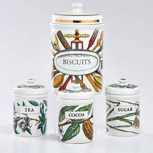 Piero fornasetti set of four lidded porcelain canisters for biscuits tea cocoa and sugar italy 20th c all marked largest 11 12 x 7 dia