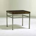 Design institute america occasional table usa 1980s burlwood matte chromed steel brass stenciled numbers 22 12 x 25 sq