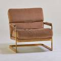 American lounge chair 1970s brassplated steel upholstery 32 12 x 31 x 36