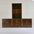Mastercraft triple cabinet usa 1970s burlwood bronze fabric label 30 12 x 100 x 19 14 note with detachable upper cabinet 51 x 33 x 17 12