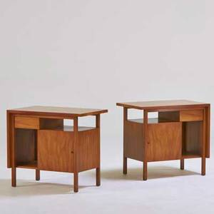 John stuart widdicomb pair of nightstands grand rapids mi 1960s walnut brass decal labels 23 14 x 26 x 16