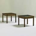 Brownsaltman two side tables usa 1950s walnut enameled copper unmarked 15 x 18 sq