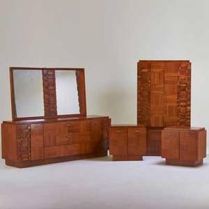 Lane cubist bedroom set two dressers mirror and pair of nightstands alta vista va 1960s walnut matte chromed steel unmarked long dresser 30 x 80 x 21 nightstands 25 x 26 x 17 tall