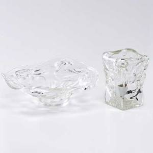 Jason wein hand blown glass ice cube table light and bowl cleveland oh late 20th c table light signed cleveland art bowl signed with artists signature bowl 6 x 15 dia