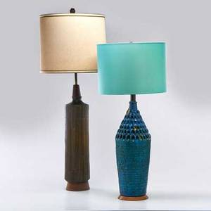 Quartite creative corp etc quartite creative corp ceramic table lamp decorated with turquoise glaze together with a studio pottery table lamp decorated with green and brown usa mid 20th c qu