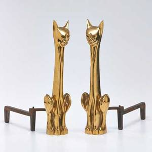 Figural pair of catshaped andirons 1960s both unmarked each 20 x 4 x 16 12