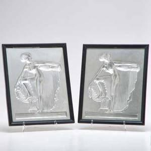 Paul huntington genter pair of framed art deco ceramic intaglio plaques each depicting a classical figure holding an urn usa 1936 both signed with frames 11 x 8 34