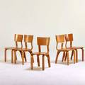 Thonet set of seven side chairs two not shown new york 1950s birch birch plywood manufacturer labels 29 x 14 x 17