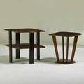 Art deco two side tables usa 1920s stained and lacquered wood unmarked larger 25 x 25 12 sq