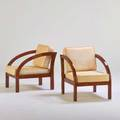 Paul frankl pair of d lounge chairs usa 1920s lacquered hardwood silk upholstery unmarked 32 x 24 12 x 32