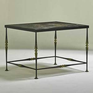Modern occasional table usa 1950s enameled iron etched and patinated steel artist signature 23 x 31 12 x 27 12